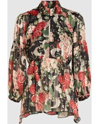 Anna Sui - Rose Garland Floral Print Crepe Top - Lyst
