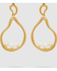 Ileana Makri - Gold-plated Sea Pebble Earrings With Faux Pearls - Lyst