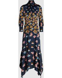 Peter Pilotto - Floral-print Hammered-silk Midi Dress - Lyst