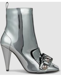 N°21 - Embellished Mirrored Leather Ankle Boots - Lyst