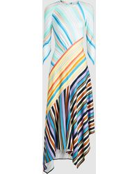 Peter Pilotto - Striped Draped Jersey Midi Dress - Lyst