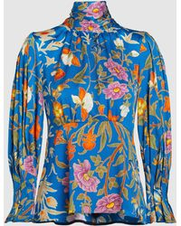 Peter Pilotto - Floral-print High Neck Silk Blouse - Lyst