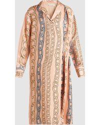 Marni - Chain Print V-neck Midi Dress - Lyst