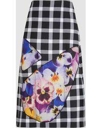 Christopher Kane - Floral-panelled Wool-blend Gingham Skirt - Lyst