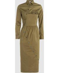 Stella Jean - Button-detailed Stretch-cotton Midi Dress - Lyst