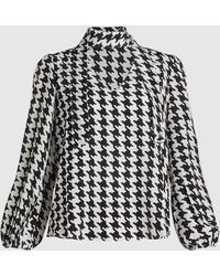 RIXO London Moss Houndstooth Silk Top - White