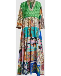 Rianna + Nina - Vintage Tiered Silk Maxi Dress - Lyst