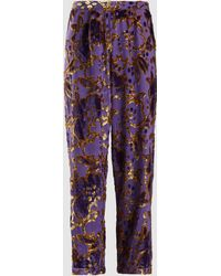 Anna Sui - Magic Moments Metallic Devoré Trousers - Lyst e2b9eb74c