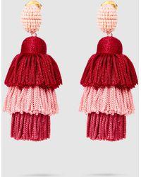 Oscar de la Renta - Tiered Tasseled Earrings - Lyst