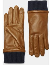 Theory - Leather Ribbed Cuff Gloves - Lyst