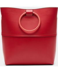 Theory - Large Hoop Tote With Wax Cord Hoop In Leather - Lyst