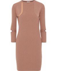 Nina Ricci - Cutout Leather-trimmed Ribbed Wool-blend Mini Dress - Lyst