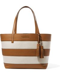 MICHAEL Michael Kors | Striped Leather And Canvas Tote | Lyst