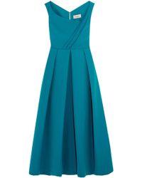 Preen By Thornton Bregazzi - Finella Wrap-effect Pleated Crepe Midi Dress - Lyst