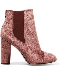 Sam Edelman - Case Embossed Velvet Ankle Boots Antique Rose - Lyst