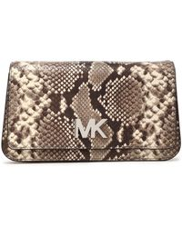MICHAEL Michael Kors - Snake-effect Leather Clutch - Lyst
