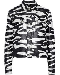 Versus - Coated Zebra-print Satin-twill Jacket - Lyst