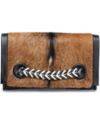 Roberto Cavalli - Chain-trimmed Goat Hair And Leather Clutch - Lyst
