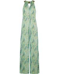 Matthew Williamson - Embellished Snake-print Silk-chiffon Jumpsuit - Lyst