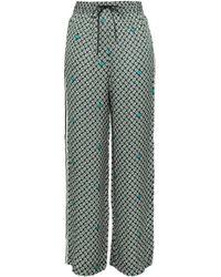 Maje - Woman Striped Printed Satin Wide-leg Trousers Emerald - Lyst