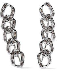 Noir Jewelry - Woman Chain Gang Rhodium-plated Crystal Ear Cuffs Silver - Lyst