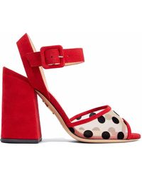 Charlotte Olympia - Emma Flocked Mesh And Suede Sandals - Lyst