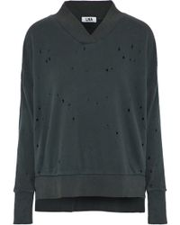 LNA - Lake Distressed French Cotton-terry Sweatshirt - Lyst