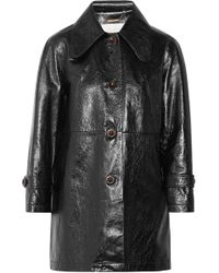 Chloé - Crinkled Glossed-leather Coat - Lyst