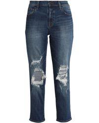 J Brand - Starstruck Cropped Distressed Mid-rise Slim-leg Jeans Mid Denim - Lyst