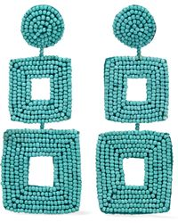 Kenneth Jay Lane - Woman Gold-tone Beaded Clip Earrings Turquoise - Lyst