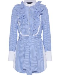 Marissa Webb - Shaina Ruffle-trimmed Striped Cotton-poplin Shirt Dress - Lyst
