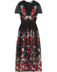 Maje Embroidered Tulle Midi Dress Black