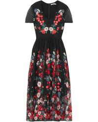 Maje - Woman Embroidered Tulle Midi Dress Black - Lyst