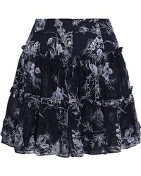 Cinq À Sept - Mirabelle Gathered Floral-print Silk-georgette Mini Skirt - Lyst