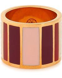 Tory Burch - Woman Gold-tone Enamel Ring Red - Lyst
