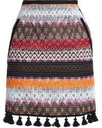 Nicholas - Tassel-trimmed Embroidered Canvas Mini Skirt - Lyst