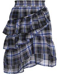 Maje - Ruffled Checked Voile Mini Skirt - Lyst