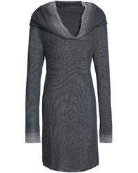 Missoni - Metallic-trimmed Draped Crochet-knit Mini Dress Dark Grey - Lyst