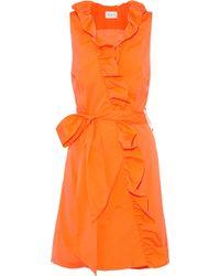 MILLY - Neon Ruffled Cotton-blend Poplin Wrap Mini Dress - Lyst