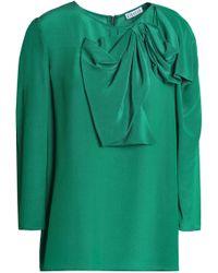 Claudie Pierlot - Bow-embellished Satin-crepe Blouse - Lyst