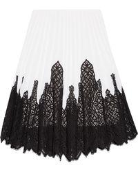 Oscar de la Renta - Lace Inset Pleated Skirt - Lyst
