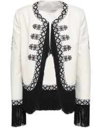 Talitha - Woman Fringe-trimmed Embroidered Twill Jacket Ivory - Lyst