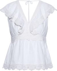 Love Sam - Guipure Lace-paneled Ruffled Cotton Top - Lyst