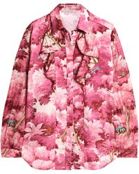 Marco De Vincenzo - Ruffled Printed Satin And Jacquard Shirt - Lyst