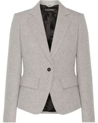 Tom Ford - Leather-trimmed Wool And Mohair-blend Blazer - Lyst