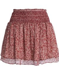 Vanessa Bruno Athé - Woman Holly Metallic Floral-print Silk-blend Chiffon Mini Skirt Claret - Lyst