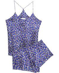 Olivia Von Halle - Bella Floral-print Silk-satin Pyjama Set Royal Blue - Lyst