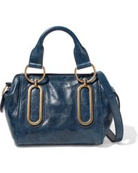 See By Chloé See By Chloé Paige Small Washed-leather Shoulder Bag Storm Blue