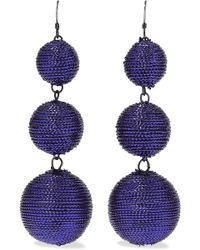 Kenneth Jay Lane - Gunmetal-tone Cord Earrings - Lyst