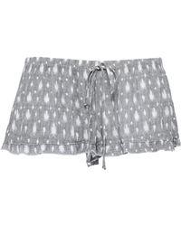 Eberjey - River Ruffle-trimmed Printed Gauze Shorts Grey - Lyst